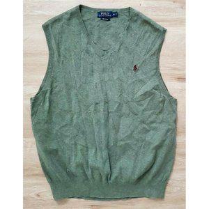 Polo Ralph Lauren Mens V-Neck Green Sweater Vest